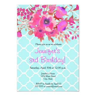 Quatrefoil flowers elegant modern happy birthday card