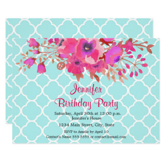 Quatrefoil flowers modern elegant happy birthday card