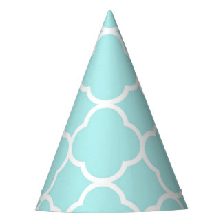 Quatrefoil geometric modern elegant blue party hat
