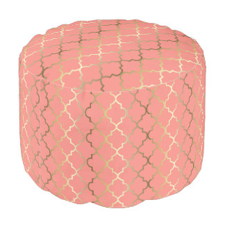 Quatrefoil Gold and Coral Pattern Pouf