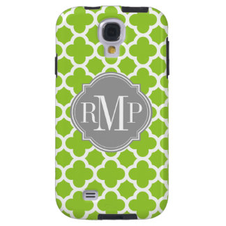Quatrefoil Green and White Pattern Monogram