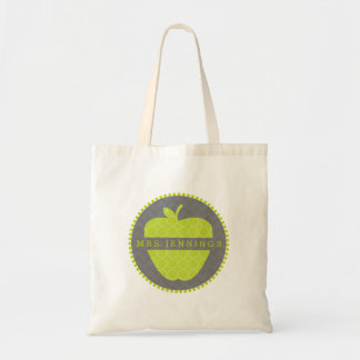 Quatrefoil Green Apple Personalized Teacher Bag