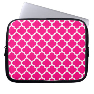 Quatrefoil Hot Pink Laptop Sleeve