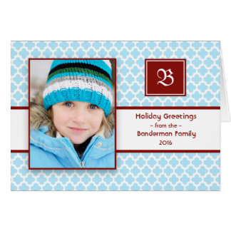 Quatrefoil Initial Blue Red Folded Christmas Card