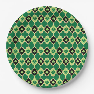 Quatrefoil Irish Shamrocks Paper Plate