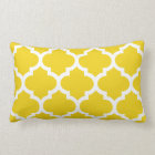 Quatrefoil Lemon Yellow Lumbar Pillow