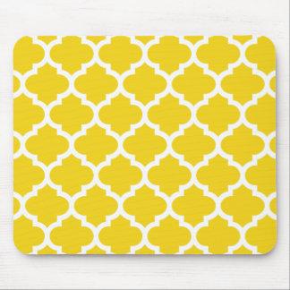 Quatrefoil Lemon Yellow Mouse Pad