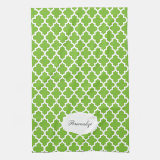 Quatrefoil Lime Green & White | DIY Color Hand Towel