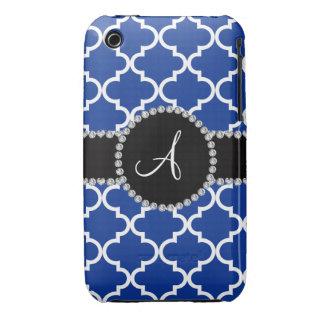 Quatrefoil marocain bleu de monogramme coque Case-Mate iPhone 3
