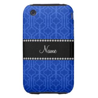 Quatrefoil marocain bleu nommé personnalisé étuis tough iPhone 3