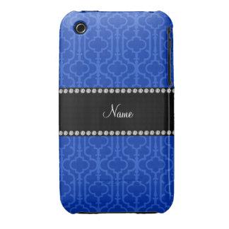 Quatrefoil marocain bleu nommé personnalisé coque iPhone 3