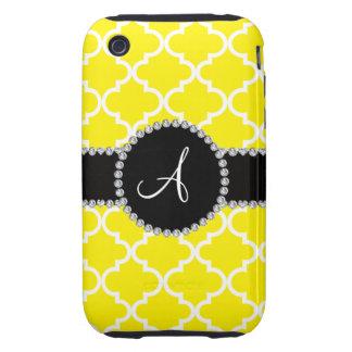 Quatrefoil marocain jaune de monogramme coque tough iPhone 3