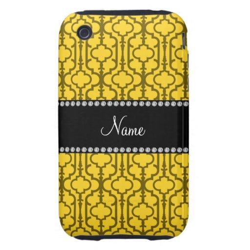 Quatrefoil marocain jaune nommé personnalisé coque tough iPhone 3