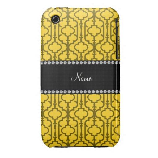 Quatrefoil marocain jaune nommé personnalisé étui iPhone 3