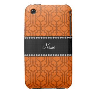 Quatrefoil marocain orange nommé personnalisé coque iPhone 3 Case-Mate