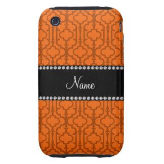 Quatrefoil marocain orange nommé personnalisé coque tough iPhone 3
