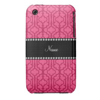 Quatrefoil marocain rose nommé personnalisé étuis iPhone 3