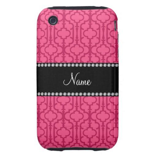 Quatrefoil marocain rose nommé personnalisé étuis tough iPhone 3