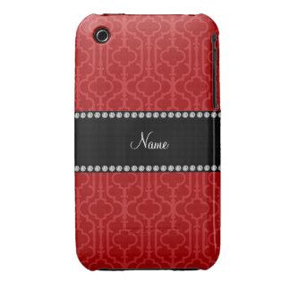 Quatrefoil marocain rouge nommé personnalisé coques Case-Mate iPhone 3