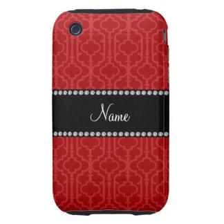 Quatrefoil marocain rouge nommé personnalisé étuis tough iPhone 3