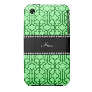 Quatrefoil marocain vert clair nommé personnalisé coques iPhone 3