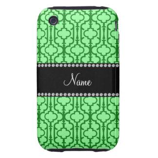 Quatrefoil marocain vert clair nommé personnalisé coques iPhone 3 tough