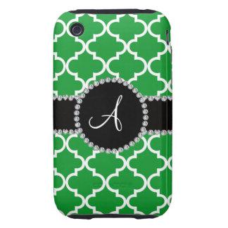 Quatrefoil marocain vert de monogramme coques tough iPhone 3
