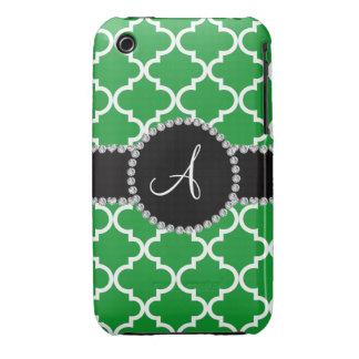 Quatrefoil marocain vert de monogramme coques Case-Mate iPhone 3