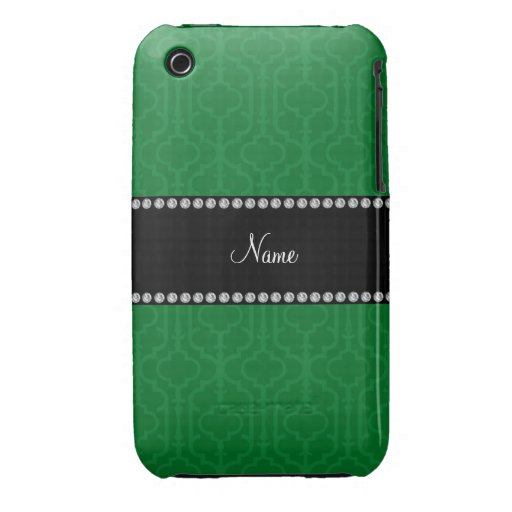 Quatrefoil marocain vert nommé personnalisé coque Case-Mate iPhone 3