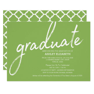 Quatrefoil Modern Graduation Party CAN EDIT COLOR Card
