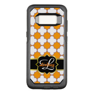 Quatrefoil monogram and quatrefoils in orange back OtterBox commuter samsung galaxy s8 case
