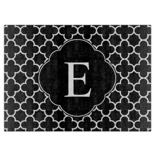 Quatrefoil Monogram Classic Black White Boards