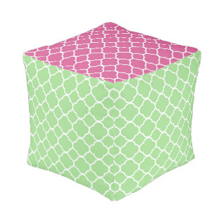 Quatrefoil Moroccan Pattern Pink And Green Pouf