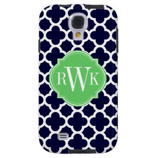 Quatrefoil Navy Blue and White Pattern Monogram