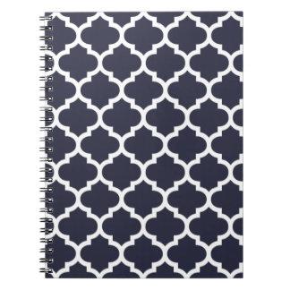 Quatrefoil Navy Blue Notebook