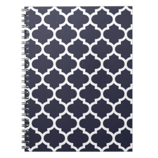 Quatrefoil Navy Blue Spiral Notebook