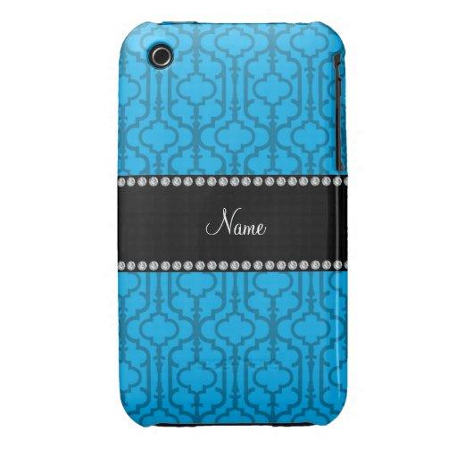 Quatrefoil nommé personnalisé de Marocain de bleu  Coques Case-Mate iPhone 3