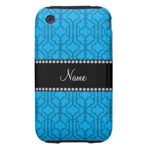 Quatrefoil nommé personnalisé de Marocain de bleu  Coques iPhone 3 Tough