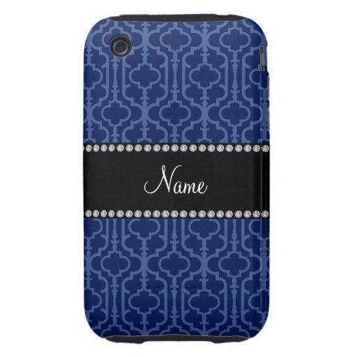 Quatrefoil nommé personnalisé de Marocain de bleu  Étui Tough iPhone 3