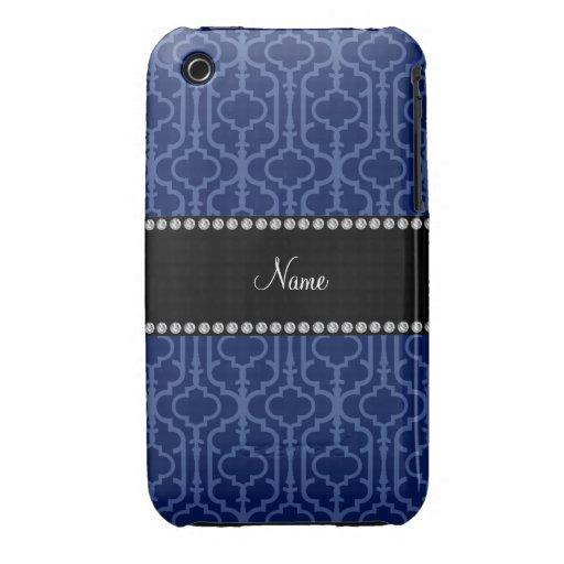 Quatrefoil nommé personnalisé de Marocain de bleu  Étui iPhone 3