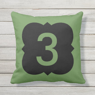 Quatrefoil: Number 3 Throw Pillow