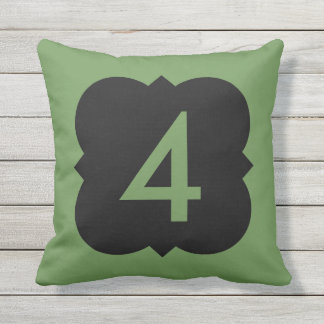 Quatrefoil: Number 4 Outdoor Pillow