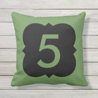 Quatrefoil: Number 5 Outdoor Pillow