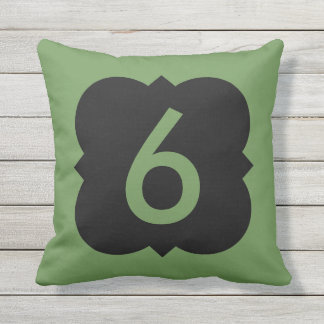 Quatrefoil: Number 6 Throw Pillow
