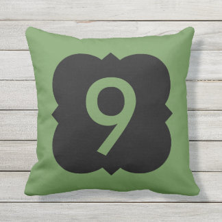Quatrefoil: Number 9 Throw Pillow