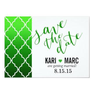 "Quatrefoil Ombre Geometric Save the Date | emerald 4.5"" X 6.25"" Invitation Card"