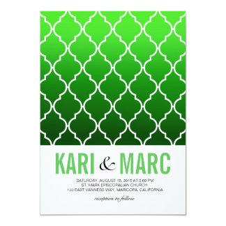 "Quatrefoil Ombre Geometric Wedding | emerald 5"" X 7"" Invitation Card"