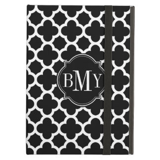 Quatrefoil Pattern Black and White Monogram iPad Cover
