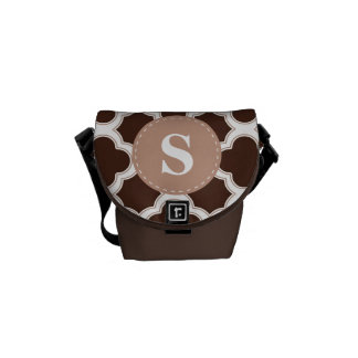 Quatrefoil Pattern Brown and White with Monogram Courier Bags