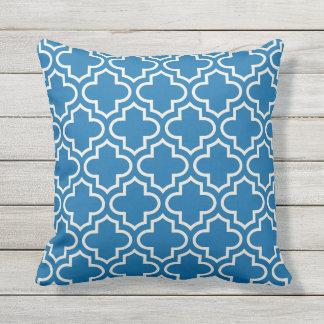 Quatrefoil Pattern   Cobalt Blue Outdoor Pillow